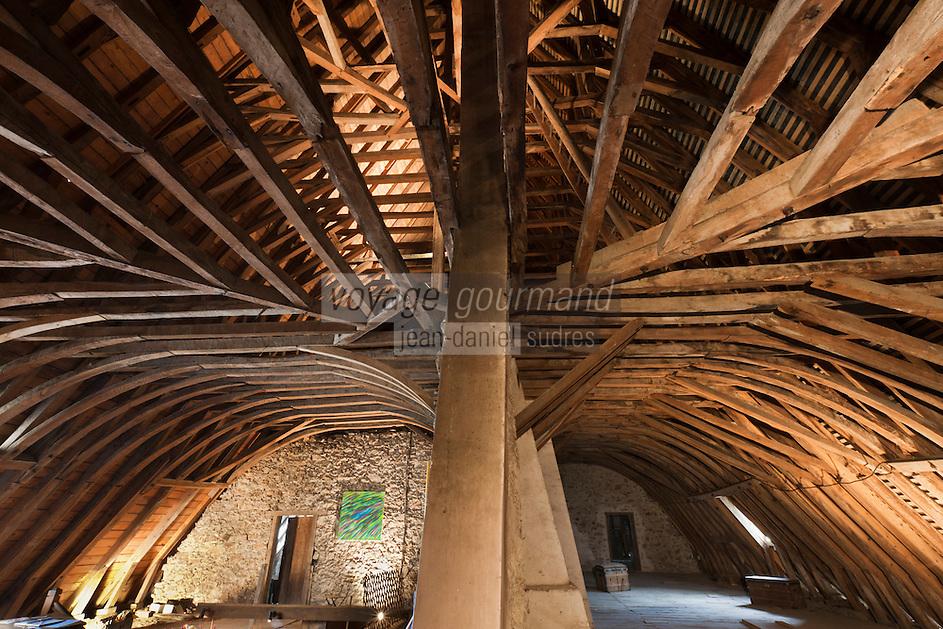 Europe/France/Aquitaine/64/Pyrénées-Atlantiques/Pays-Basque/Mauléon-Licharre: Le château de Maytie dit d'Andurain - La remarquable charpente en chêne  des combles ,en forme de coque de bateau renversée