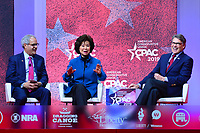 National Harbor, MD - February 28, 2019: Sec.Elaine Chow and Sec. Rick Perry participate in a discussion during the annual Conservative Political Action Conference (CPAC) held at the Gaylord National Resort at National Harbor, MD February 28, 2019, moderated by Charlie Gerow  (Photo by Don Baxter/Media Images International)