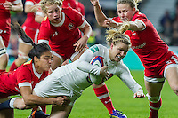 Danielle Waterman tackled by Magali Harvey, England Women v Canada Women in an Old Mutual Wealth Series, Autumn International match at Twickenham Stadium, London, England, on 26th November 2016. Full time score 39-6
