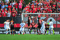 The Terrapins tries to header the ball toward the goal. Maryland defeated Penn State in over time 3-2 during an NCAA D-1 soccer match at Ludwig Field in College Park, MD on Sunday, September 18, 2016.  Alan P. Santos/DC Sports Box