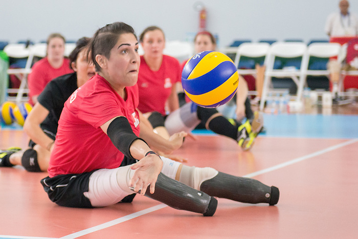 RIO DE JANEIRO - 6/9/2016:  Felicia Voss-Shafiq of Canada's Womens Sitting Volleyball team during a practice match vs Team USA at the Paralympic Village at the Rio 2016 Paralympic Games. (Photo by Matthew Murnaghan/Canadian Paralympic Committee