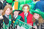 AMUSED: Megan Moriarty, Liam Butler, Cara Twomey and Jade Keane enjoying the Castleisland St Patricks Day parade. .
