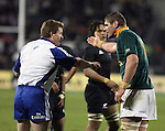 Springbok Johann Muller argues the point with referee Stuart Dickinson during the international rugby match between the New Zealand All Blacks and South Africa at Jade Stadium, Christchurch, New Zealand. 14 July 2007. Photo: Marc Weakley