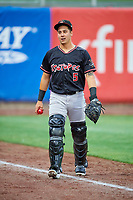 Dom Nunez (5) of the Albuquerque Isotopes before the game against the Salt Lake Bees at Smith's Ballpark on April 24, 2019 in Salt Lake City, Utah. The Isotopes defeated the Bees 5-4. (Stephen Smith/Four Seam Images)