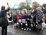 Children from Donore school singing at the memorial for Bettina Poeschel at Donore. Photo: Colin Bell/pressphotos.ie