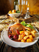 Traditional roast Gresham duck dinner stock photos