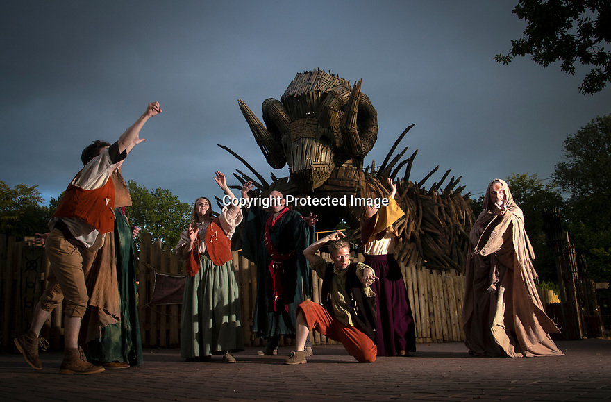 07/08/19<br /> <br /> In an attempt to stop the rain and bring back summer weather, the Beornen perform a 'Sun Dance' to the Wicker Man at Alton Towers. <br /> <br /> All Rights Reserved, F Stop Press Ltd +44 (0)7765 242650 www.fstoppress.com rod@fstoppress.com