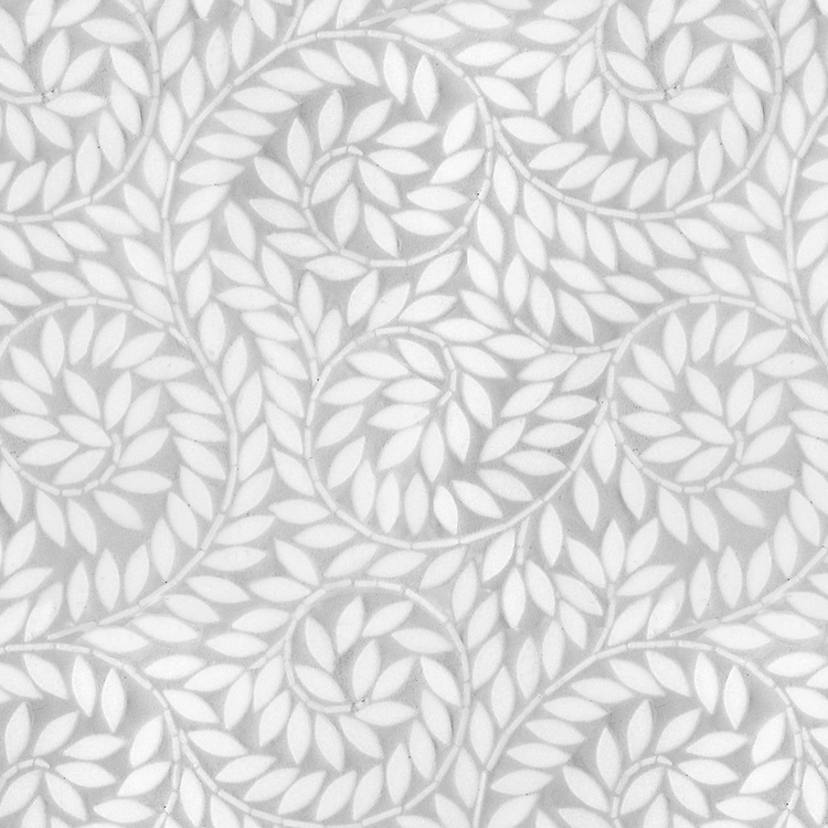 Jacqueline Vine, a waterjet stone mosaic, shown in tumbled Thassos, is part of the Silk Road® collection by New Ravenna.