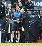 David Weir and Mark Warburton sort out the penalty takers