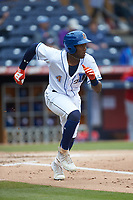 Justin Williams (4) of the Durham Bulls hustles down the first base line against the Buffalo Bison at Durham Bulls Athletic Park on April 25, 2018 in Allentown, Pennsylvania.  The Bison defeated the Bulls 5-2.  (Brian Westerholt/Four Seam Images)