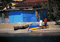 Fishing boat , village of Scots Head, island of Dominica , West Indies. Point Michel, Dominica West Indies.
