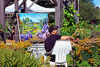 5th Annual Garlic Festival, August 2013 (hosted by The Sharing Farm) at Terra Nova Rural Park, Richmond, BC, British Columbia, Canada - Artist paints Garlic