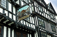 Ye Olde Bullring Tavern, 14th Century Tudor architecture in Ludlow, Shropshire, UK