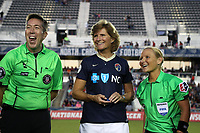 Cary, North Carolina  - Saturday September 09, 2017: Aaron Gallagher, Melissa Mewis, and Karen Abt prior to a regular season National Women's Soccer League (NWSL) match between the North Carolina Courage and the Houston Dash at Sahlen's Stadium at WakeMed Soccer Park. The Courage won the game 1-0.
