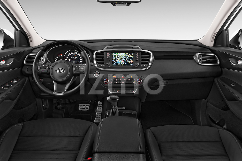 Stock photo of straight dashboard view of a 2015 KIA Sorento Fusion AWD 5 Door Suv Dashboard