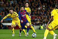 27th November 2019; Camp Nou, Barcelona, Catalonia, Spain; UEFA Champions League Football, Barcelona versus Borussia Dortmund;  Leo Messi scape from defensors - Editorial Use