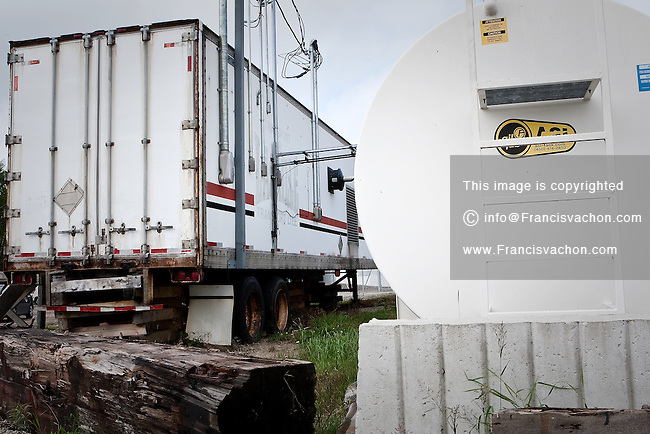 An oil tank used by the van trailer transformed into a mega-generator is seen in the algonquin Anicinape community of Kitcisakik in Quebec, Canada, July 18, 2009. The aboriginals living in Kitcisakik, a small algonquin Anicinape community, don't have an official statue and are considered squatters by the crown. They don't have access to electricity and running water in their houses.