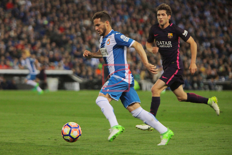 League Santander 2016/2017. Game: 35.<br /> RCD Espanyol vs FC Barcelona: 0-3.<br /> Pablo Piatti vs Sergi Roberto.