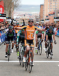 Pablo Urtasun (Euskaltel Euskadi team) wins the first stage of the Castilla and Leon 2013 Cycling Tour. The first stage of the 28th tour took place from Arevalo (Avila) to Valladolid. April 12, 2013. Valladolid, Spain. (Alterphotos/Victor J Blanco)
