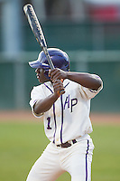 Josh Greene (1) of the High Point Panthers at bat against the Coastal Carolina Chanticleers at Willard Stadium on March 15, 2014 in High Point, North Carolina.  The Panthers defeated the Chanticleers 11-8 in game two of a double-header.  (Brian Westerholt/Four Seam Images)