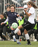 Sonia Bompastor (blue) of the Washington Freedom clashes with Keely Dowling  of Sky Blue F.C. during a WPS pre season match at Maryland Soccerplex, in Boyd's, Maryland on March 14 2009. Sky Blue won the match 1-0