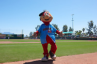 Inland Empire 66ers mascot Bernie during a California League game against the Modesto Nuts on April 10, 2019 at San Manuel Stadium in San Bernardino, California. Inland Empire defeated Modesto 5-4 in 13 innings. (Zachary Lucy/Four Seam Images)