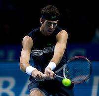 Juan Martin del Potro (ARG)  against Robin Soderling (SWE) in the semi-finals of the Barclays ATP World Tour FInals. Del Potro beat Soderling 6-7 6-3 7-6..International Tennis - Barclays ATP World Tour Finals - O2 Arena - London - Day 7 - Sat 28 Nov 2009..© Frey  - AMN IMAGES, 1st Floor, Barry House, 20-22 Worple Road, London, SW19 4DH. Tel +44 20 8947 0100