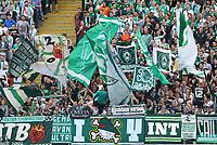 Fans von Werder Bremen - 01.09.2018: Eintracht Frankfurt vs. SV Werder Bremen, Commerzbank Arena, 2. Spieltag DISCLAIMER: DFL regulations prohibit any use of photographs as image sequences and/or quasi-video.