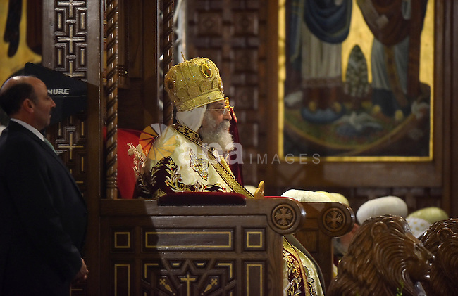 Egyptian Coptic Christian religious leader Pope Tawadros II leads Christmas celebration at the St. Mark's Coptic Orthodox Cathedral in the Abbassia District of Cairo on January 6, 2017. Photo by Amr Sayed