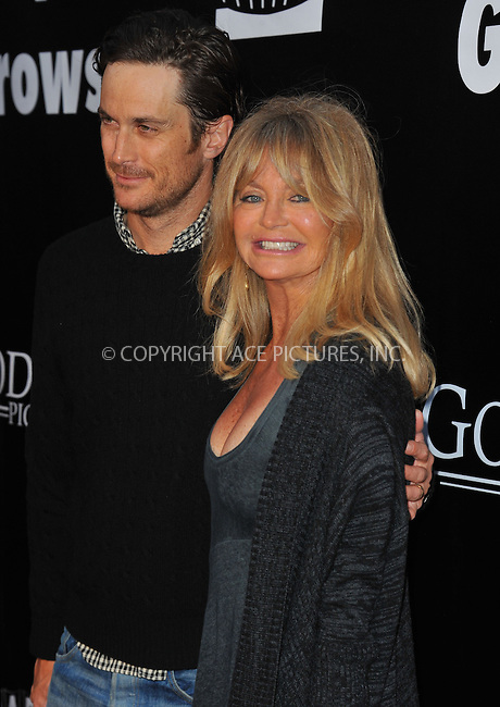 WWW.ACEPIXS.COM<br /> <br /> May 4 2015, LA<br /> <br /> Actress Goldie Hawn  and son Oliver Hudson arriving at the Los Angeles premiere of 'Where Hope Grows' at the ArcLight Cinema on May 4, 2015 in Hollywood, California.<br /> <br /> By Line: Peter West/ACE Pictures<br /> <br /> <br /> ACE Pictures, Inc.<br /> tel: 646 769 0430<br /> Email: info@acepixs.com<br /> www.acepixs.com