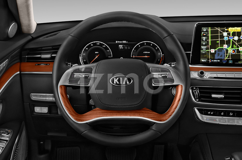 Car pictures of steering wheel view of a 2019 KIA K900 Luxury 4 Door Sedan Steering Wheel