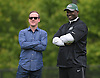 Todd Bowles, New York Jets Head Coach, right, stands alongside Director of Player Personnel Brian Heimerdinger during the first day of offseason training activity at the Atlantic Health Jets Training Center in Florham Park, NJ on Tuesday, May 23, 2017.