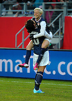 Offenbach, Germany, Friday, April 05 2013: Womans, Germany vs. USA, in the Stadium in Offenbach,  Megan Rapinoe (USA) celebrates her Goal..