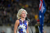 Singer Ainslie Allen during the All Blacks v Wallabies. The Rugby Championship &amp; Bledisloe Cup at Westpac Stadium, Wellington, New Zealand on Saturday 27 August 2016.<br /> Photo by Masanori Udagawa. <br /> www.photowellington.photoshelter.com.