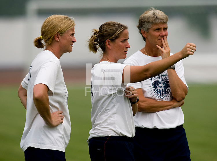 Jill Ellis, Erica Walsh, Pia Sundhage. The USWNT practiced at Beijing Normal University in Beijing, China.  The team will now move to Qinhuangdao to prepare for their first two group games of the 2008 Olympics.