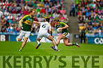 Stephen O'Brien, Kerry in action against Eoin Doyle, Kildare in the All Ireland Quarter Final at Croke Park on Sunday.