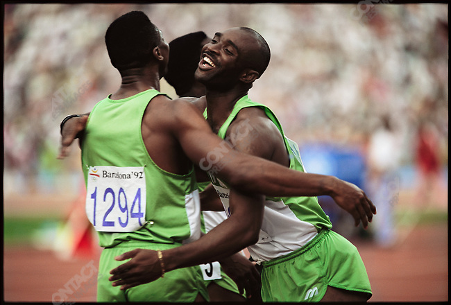4x100m finals, men, Nigerian team (silver), Summer Olympics, Barcelona, Spain, August 1992