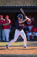 Dustin LaBonte (15) of the Shippensburg Raiders at bat against the Belmont Abbey Crusaders at Abbey Yard on February 8, 2015 in Belmont, North Carolina.  The Raiders defeated the Crusaders 14-0.  (Brian Westerholt/Four Seam Images)