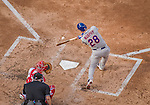 6 April 2015: New York Mets infielder Daniel Murphy connects during the Season Opening Game against the Washington Nationals at Nationals Park in Washington, DC. The Mets rallied to defeat the Nationals 3-1 in their first meeting of the 2015 MLB season. Mandatory Credit: Ed Wolfstein Photo *** RAW (NEF) Image File Available ***