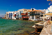 The Venetia neibourhood of the Kastro District of Chora, Mykonos, Cyclades Islands, Greece