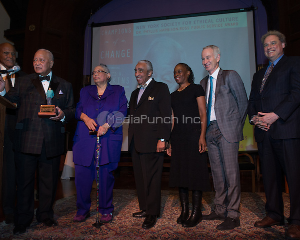 NEW YORK, NY - APRIL 3: Hon. David N. Dinkins, Harry Belafonte, John McEnroe, Randy Levine, Charles B. Rangel, Chirlane McCray, Dr. Phyllis Harrison-Ross pictured as David N. Dinkins, 106th Mayor of the City of New York, receives the Dr. Phyllis Harrison-Ross Public Service Award for a lifetime of public service at the New York Society of Ethical Culture in New York City on April 3, 2014. Credit: Margot Jordan/MediaPunch