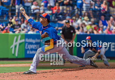 8 March 2015: New York Mets pitcher Hansel Robles on the mound during Spring Training action against the Boston Red Sox at Tradition Field in Port St. Lucie, Florida. The Mets fell to the Red Sox 6-3 in Grapefruit League play. Mandatory Credit: Ed Wolfstein Photo *** RAW (NEF) Image File Available ***