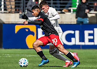 WASHINGTON, DC - FEBRUARY 29: Edison Flores #10 of DC United and Sam Vines #13 of the Colorado Rapids clash during a game between Colorado Rapids and D.C. United at Audi Field on February 29, 2020 in Washington, DC.