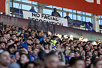 A No Facial Recognition banner at the stadium during the Sky Bet Championship match between Cardiff City and Swansea City at the Cardiff City Stadium, Cardiff, Wales, UK. Sunday 12 January 2020