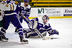 2 February 2020: Holy Cross Crusader Goaltender Jada Brenon, a Sophomore from Pendleton, NY, makes a second period save against the University of Vermont Catamounts at Gutterson Fieldhouse in Burlington, Vermont. Brenon made 51 saves in the game, keeping the Crusaders in the lead for almost the entire game. However, the Lady Cats rallied in the 3rd period to tie the Crusaders 2-2 in NCAA Women's Hockey East play. Mandatory Credit: Ed Wolfstein Photo *** RAW (NEF) Image File Available ***