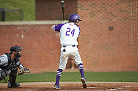 Conner Dunbar (24) of the High Point Panthers at bat against the Campbell Camels at Williard Stadium on March 16, 2019 in  Winston-Salem, North Carolina. The Camels defeated the Panthers 13-8. (Brian Westerholt/Four Seam Images)