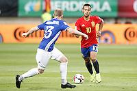 Spain's Thiago Alcantara (r) and Liechtenstein's Martin Buchel during FIFA World Cup 2018 Qualifying Round match. September 5,2016.(ALTERPHOTOS/Acero)