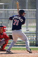 March 18, 2010:  First Baseman Michael Gonzales (71) of the Minnesota Twins organization during Spring Training at the Ft. Myers Training Complex in Ft. Myers, FL.  Photo By Mike Janes/Four Seam Images