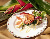 Plated Lobster Salad with lobster claw.