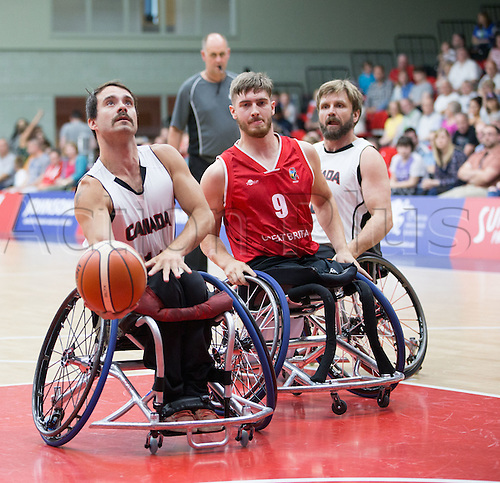 03.07.2016. Leicester Sports Arena, Leicester, England. Continental Clash Wheelchair Basketball, England versus Canada. Chad Jassman (CAN) prepares to shoot a basket